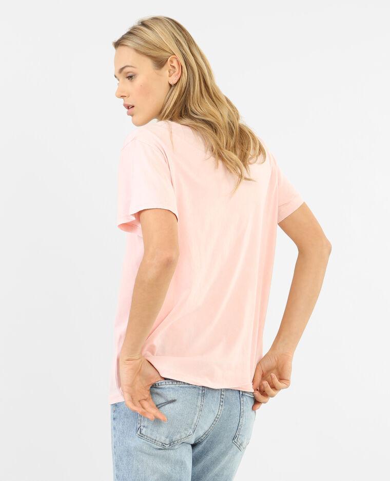 T-shirt à message rose