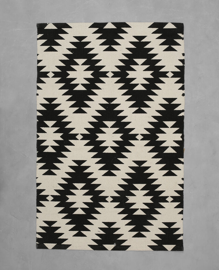 Tapis coton motif berbère écru