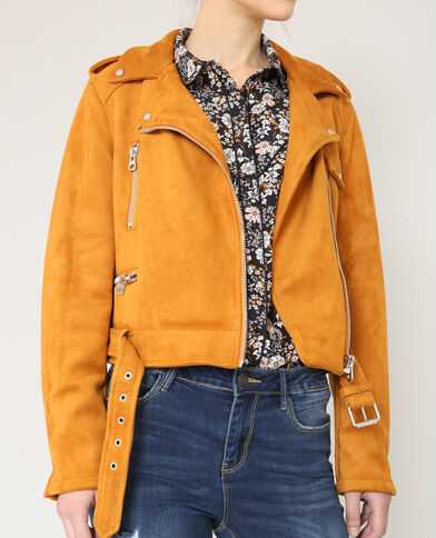 Veste style perfecto suédine jaune moutarde