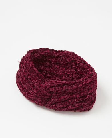 Headband maille chenille grenat