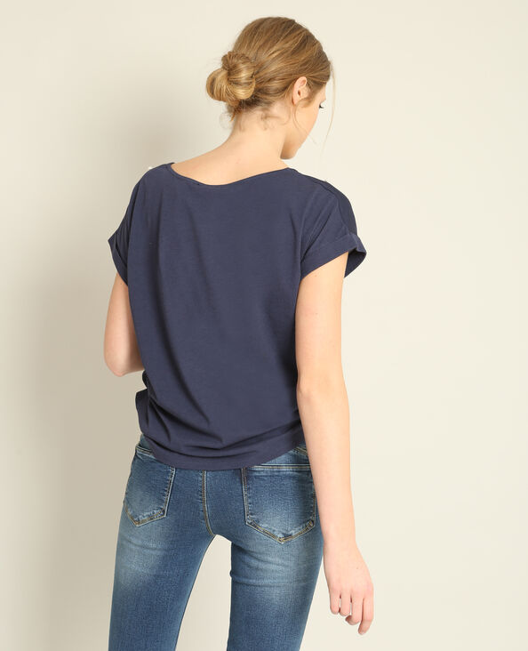 T-shirt à perles bleu marine