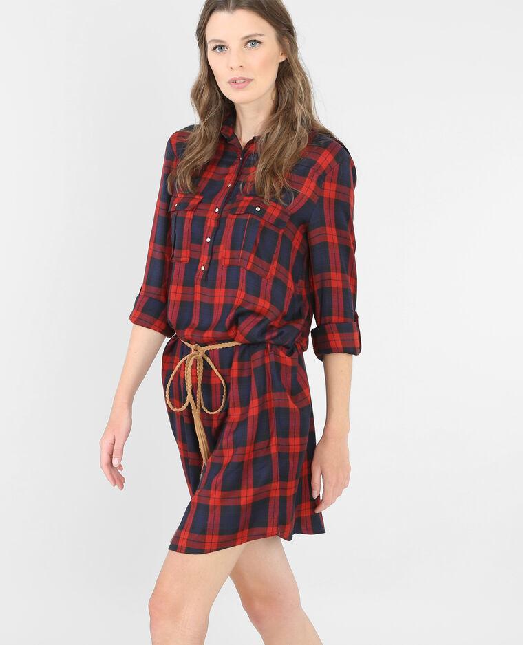 robe chemise carreaux rouge 780307338b06 pimkie. Black Bedroom Furniture Sets. Home Design Ideas