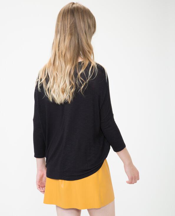 T-shirt à col croisé noir