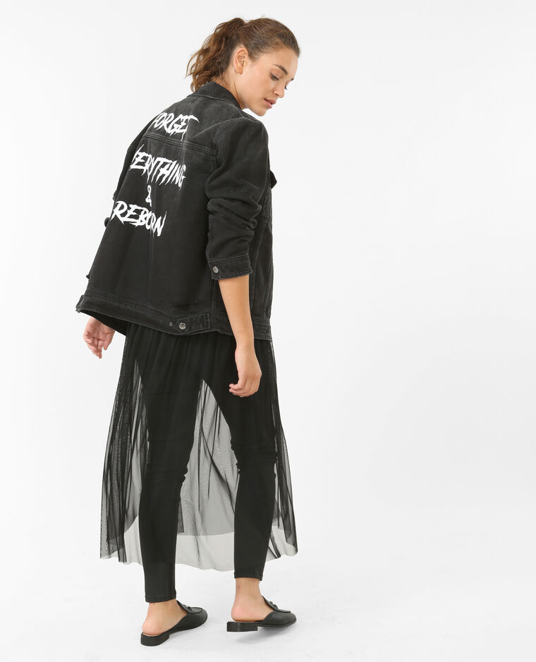 Veste en jean à message gris foncé