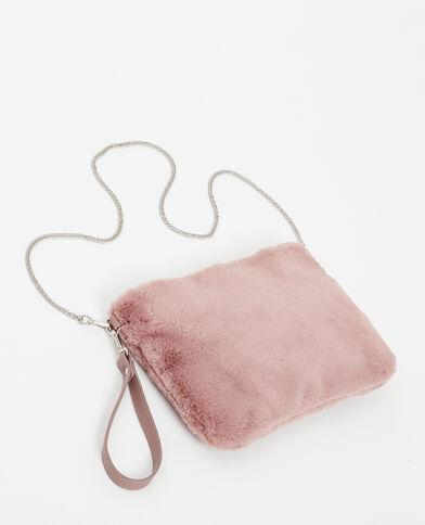 Grand sac pochette en fausse fourrure rose