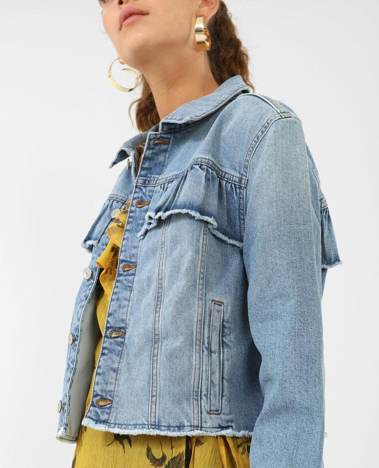 Veste en jean à volants bleu