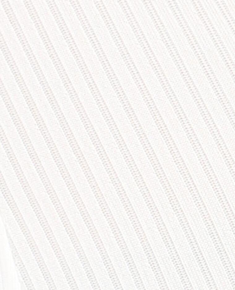 Body côtelé manches peekaboo blanc cassé