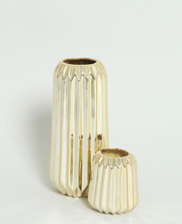 Petit vase strié doré