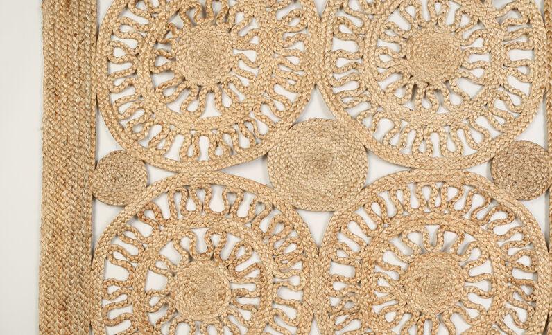Grand tapis jute beige taupe