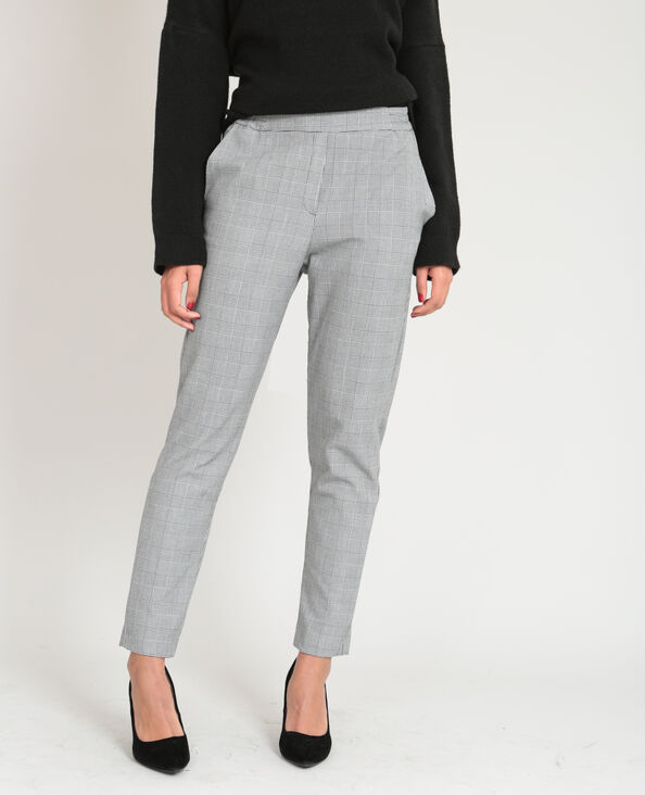 Pantalon imprimé prince de Galles gris
