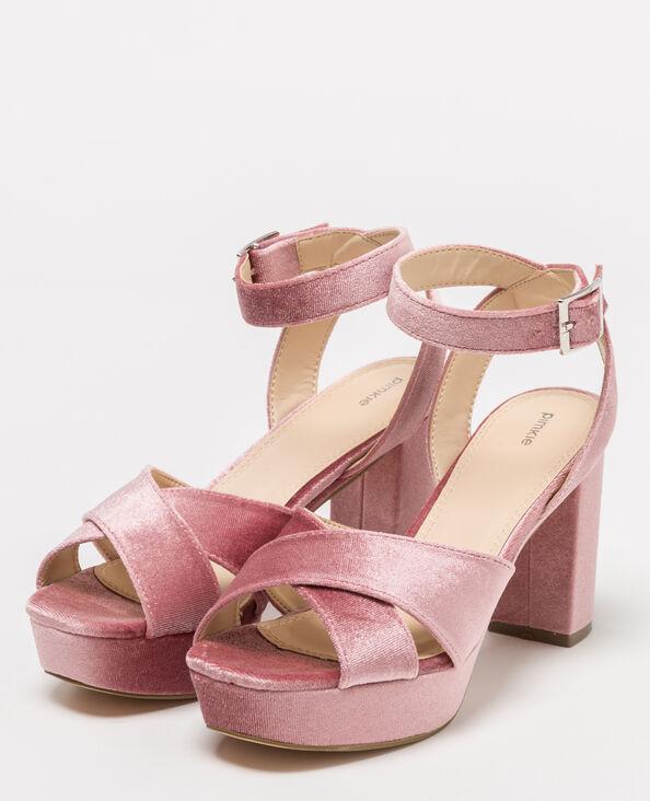 Sandales à plateau velours rose poudré