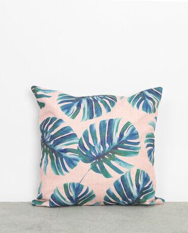 Housse de coussin feuilles de palmier rose