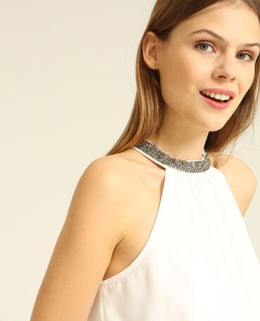 Blouse col bijoux blanc