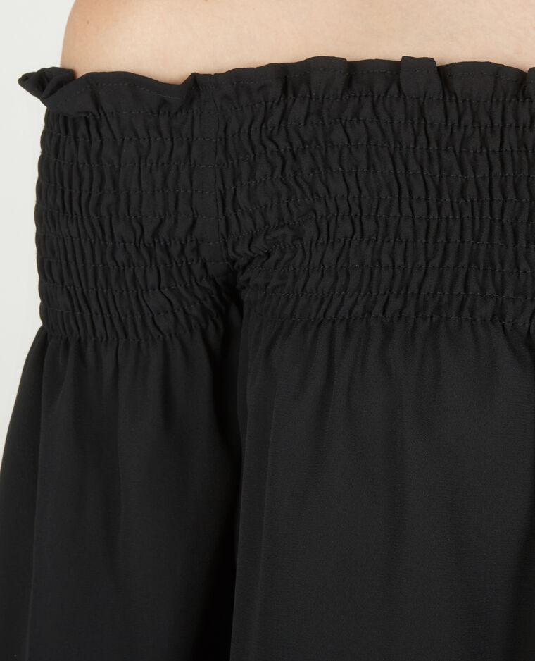 Blouse courte à col bardot noir