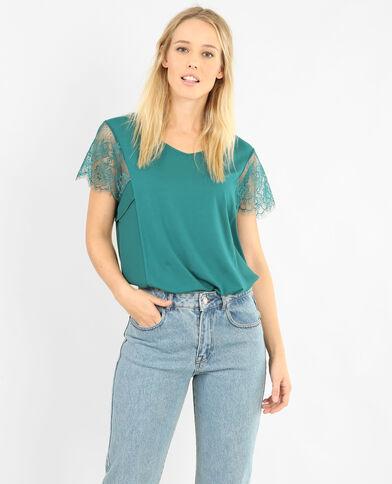 T-shirt dentelle vert