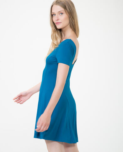 Robe trapèze bleu canard