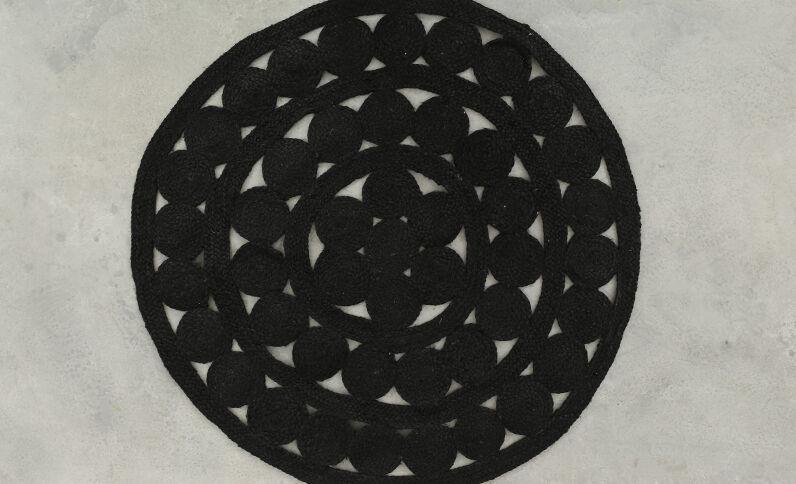 Tapis mandala en jute noir