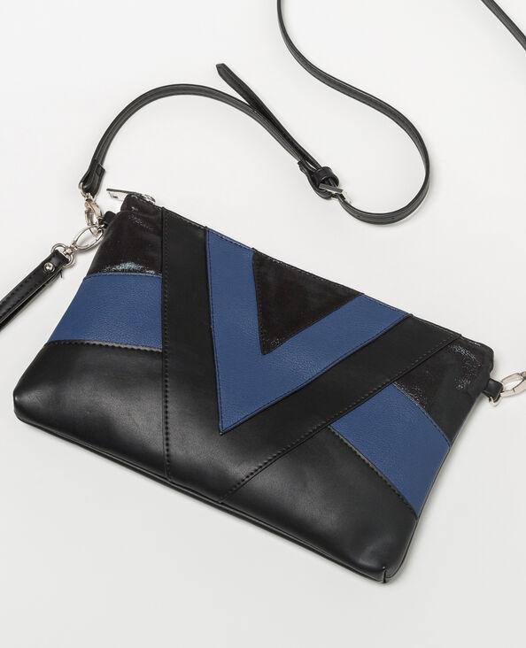 Sac patchwork bicolore noir