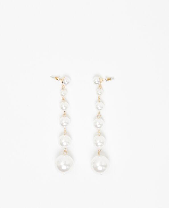 Boucles d'oreille perles blanc cassé