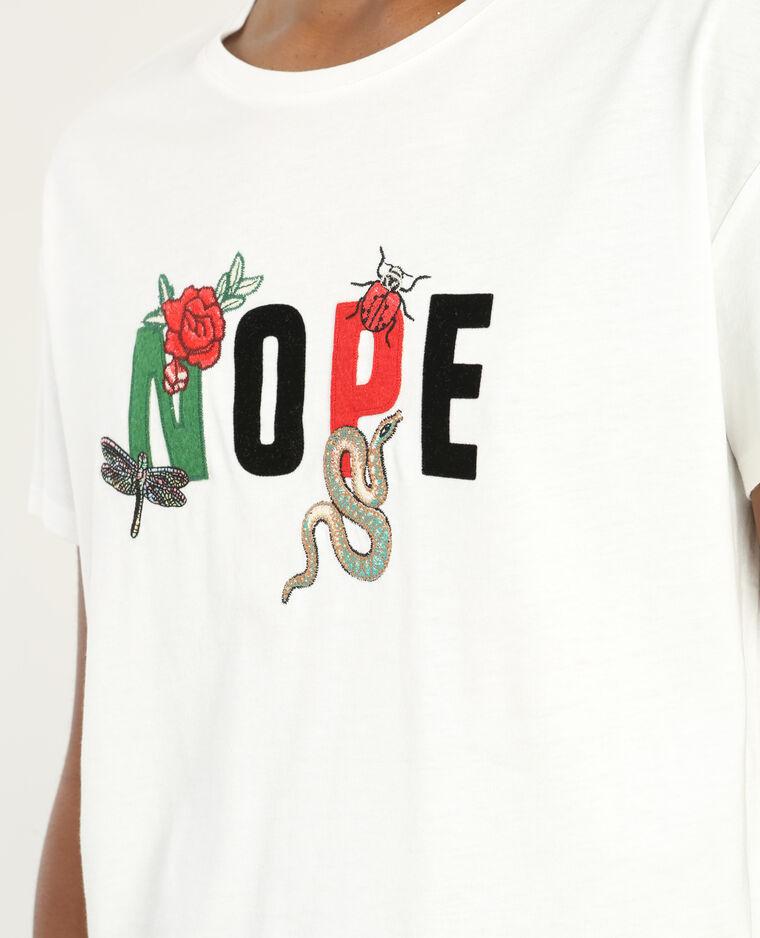 T-shirt patchs à message écru