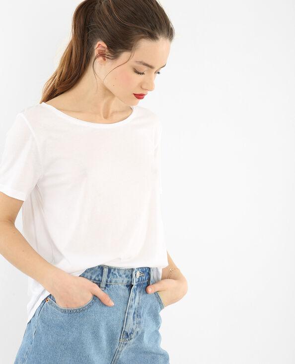 T-shirt col raw cut blanc cassé