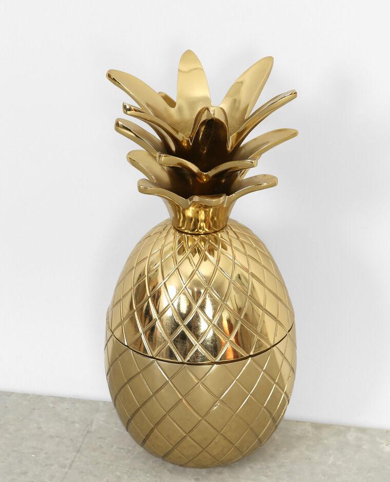 Grande boîte ananas métal doré doré