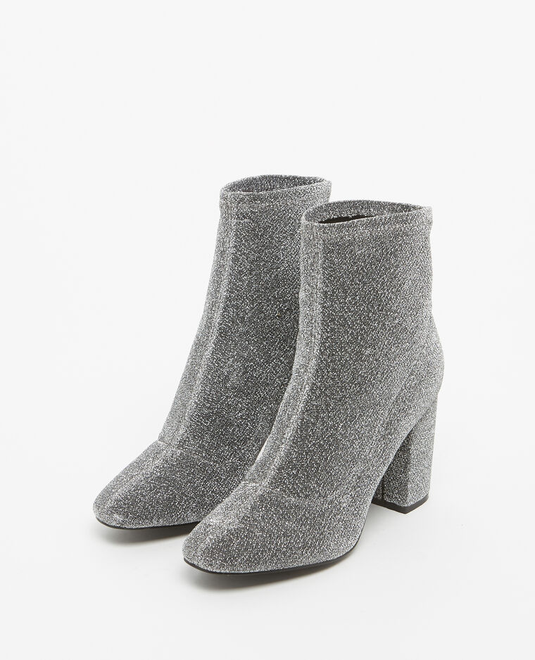 Boots à talons gris argenté