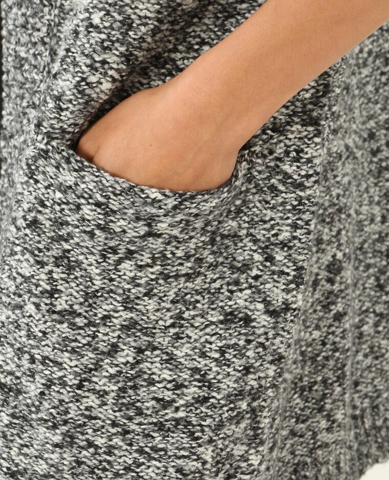 Long gilet chaud gris chiné