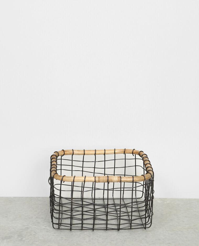 Panier métal et bambou noir