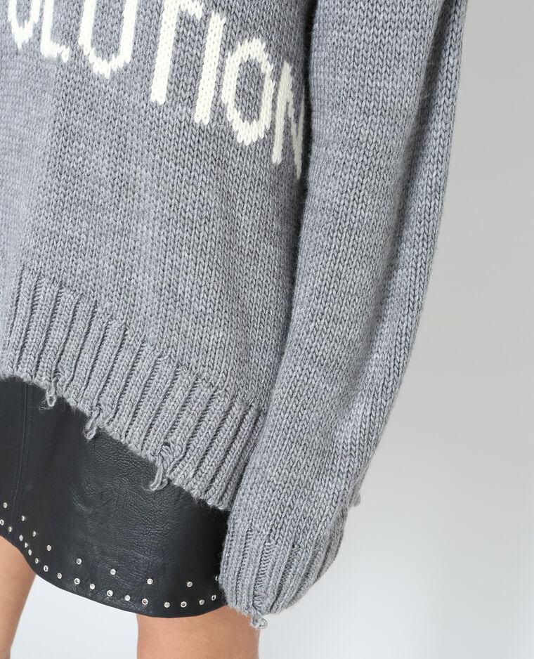 Pull XL à message gris