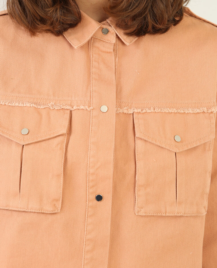 Veste denim couleur brun