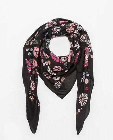 Foulard à imprimé fleuri noir