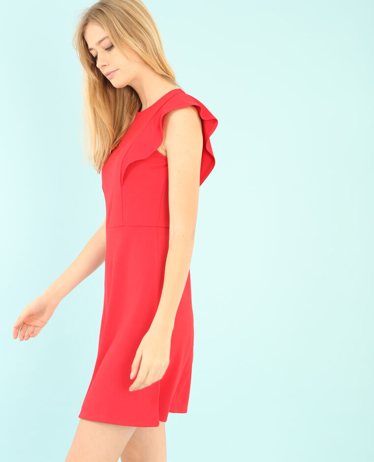 Robe patineuse à volant rouge
