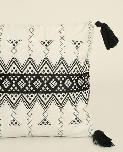 Housse de coussin à motifs géométriques écru