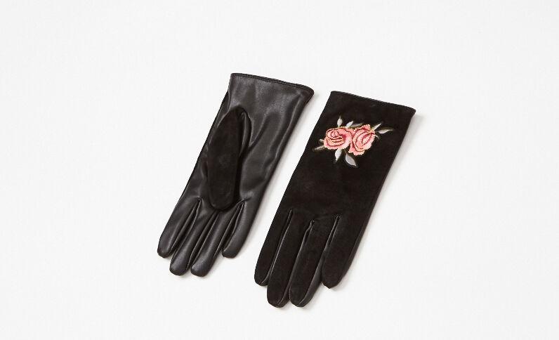 Gants bimatière brodés noir