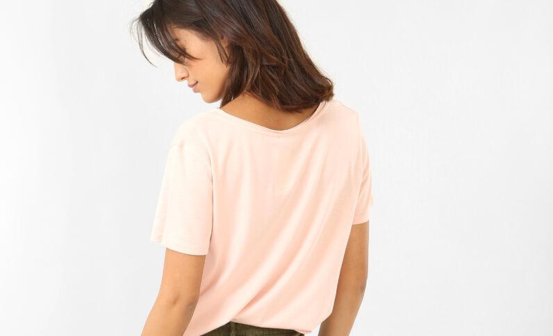 T-shirt col raw cut rose