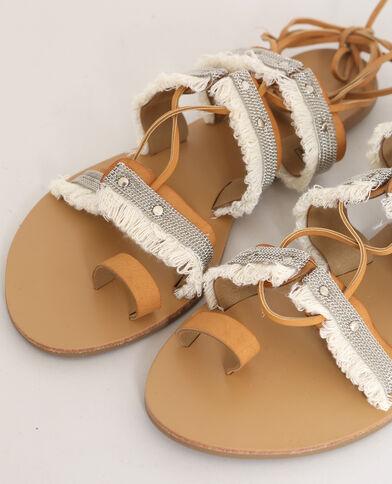 Sandales à franges marron