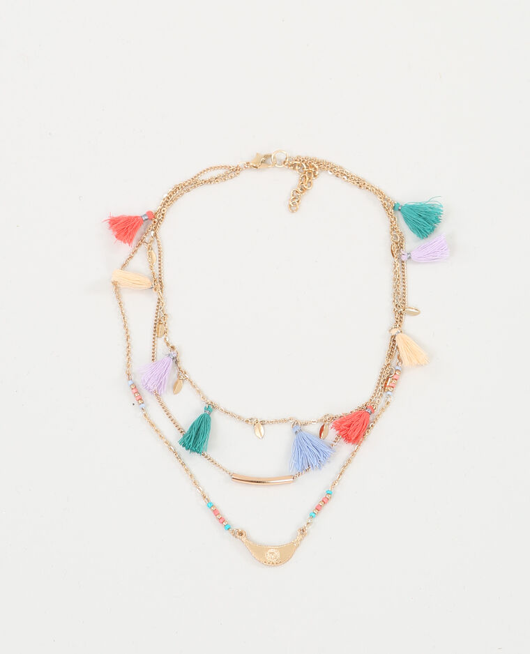 Collier multi-rangs à pompons doré