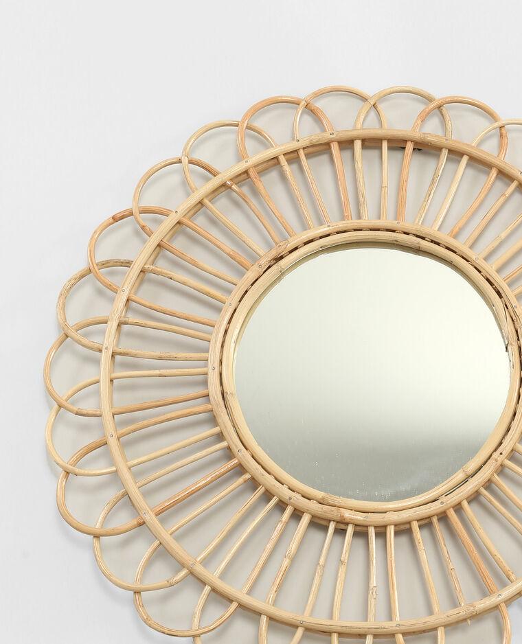 Miroir rond en rotin beige taupe 904073742a07 pimkie for Miroir petit rond