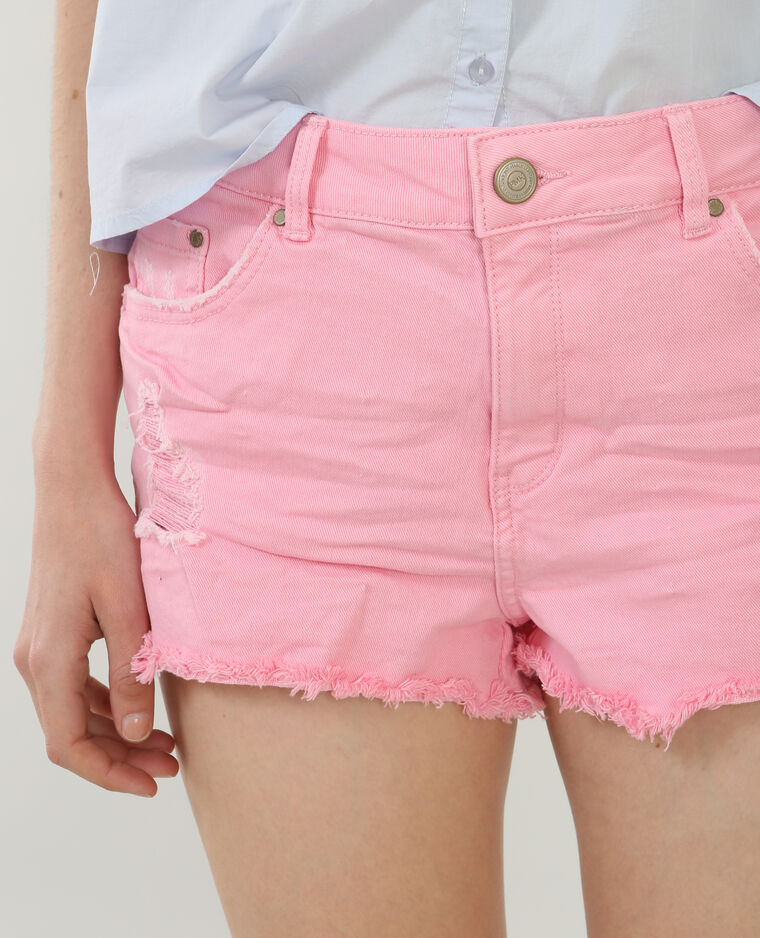 Short en jean destroy rose