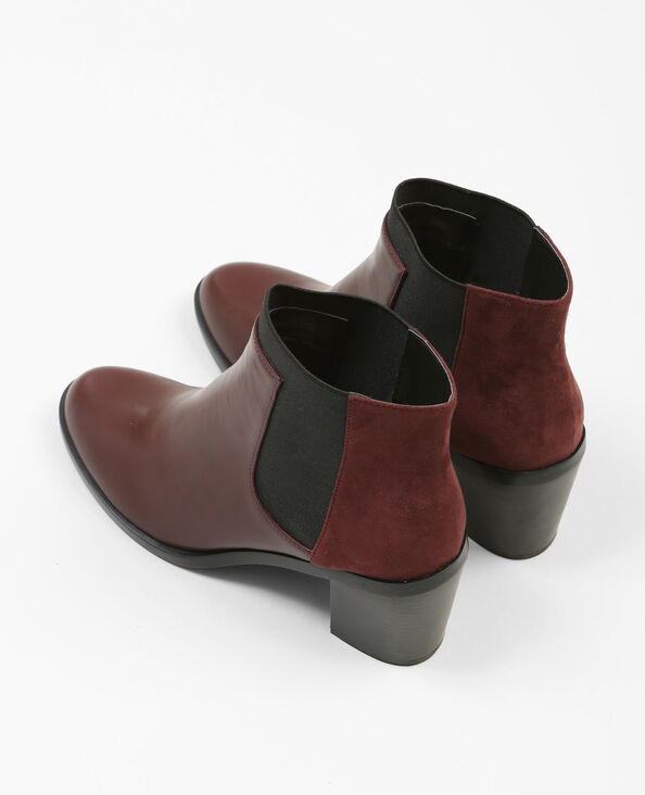 Boots à talons bimatière grenat