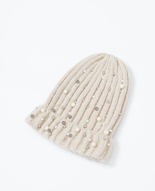 Bonnet à perles gris perle