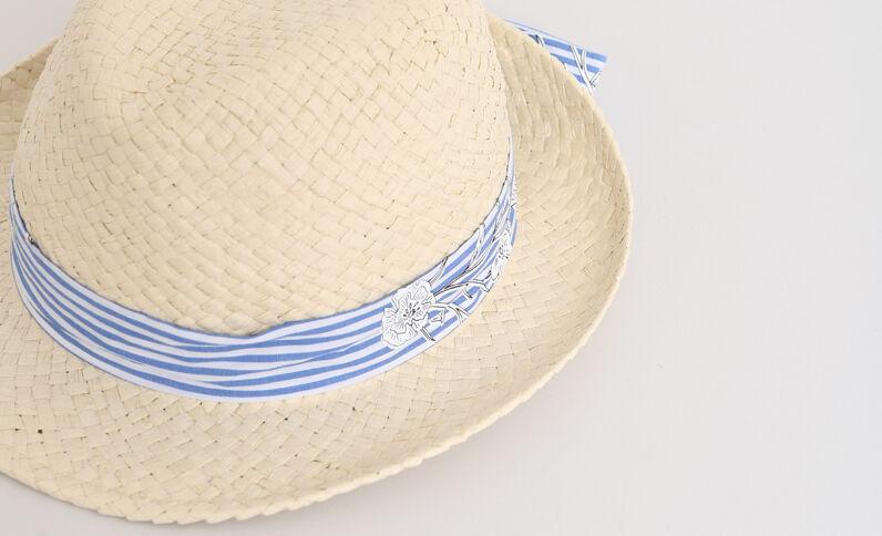 Panama en paille beige ficelle