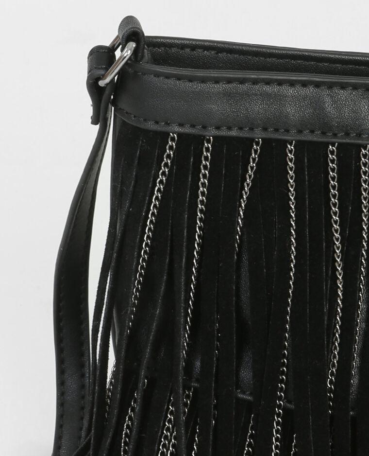 Pochette franges et chaînes noir