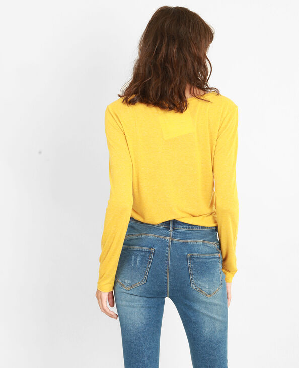 T-shirt maille chinée jaune moutarde