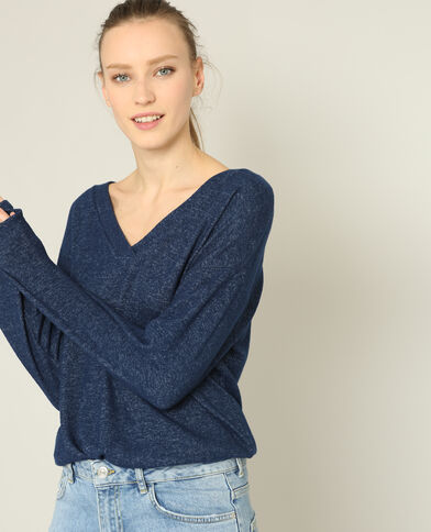 T-shirt col V bleu foncé