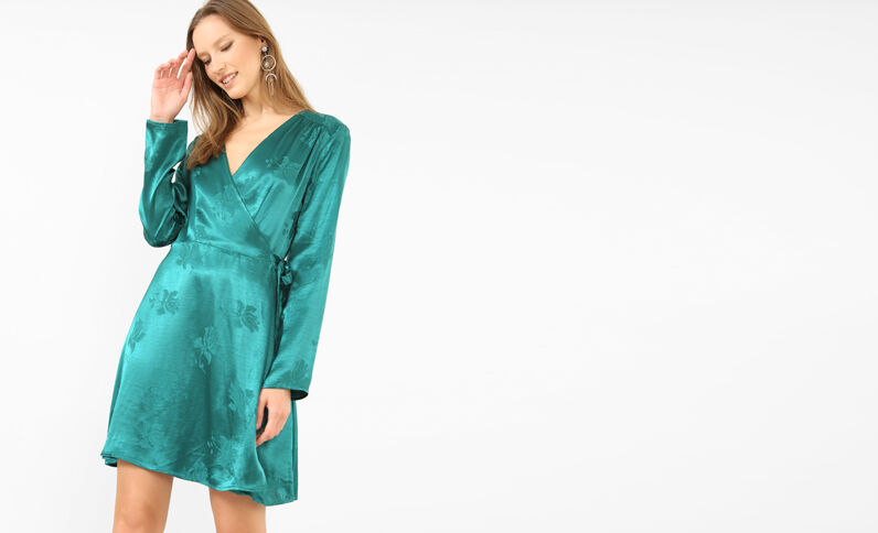 Robe portefeuille satinée vert