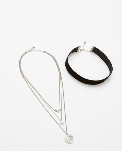 Lot de 2 colliers gris argenté