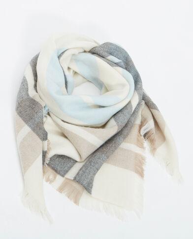 Grande écharpe à carreaux beige