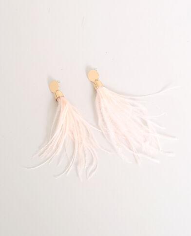 Boucles d'oreilles à plumes jaune